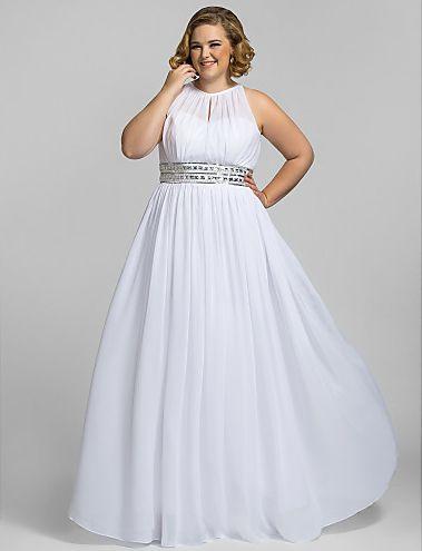 Long white plus size prom dresses