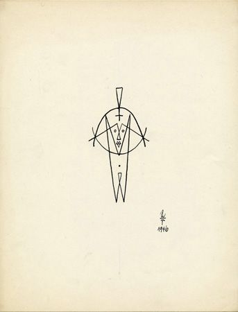 Ad Reinhardt, Symmetrical Male Figure (Woman in a Man's Soul), 1946, India ink on paper,