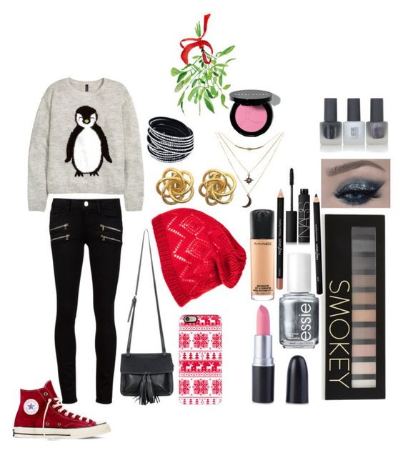 """""""12 Days Until Christmas::Day 4"""" by potterhead1122 ❤ liked on Polyvore featuring H&M, Paige Denim, Converse, Chicnova Fashion, Casetify, Charlotte Russe, Forever 21, Essie, MAC Cosmetics and NARS Cosmetics"""