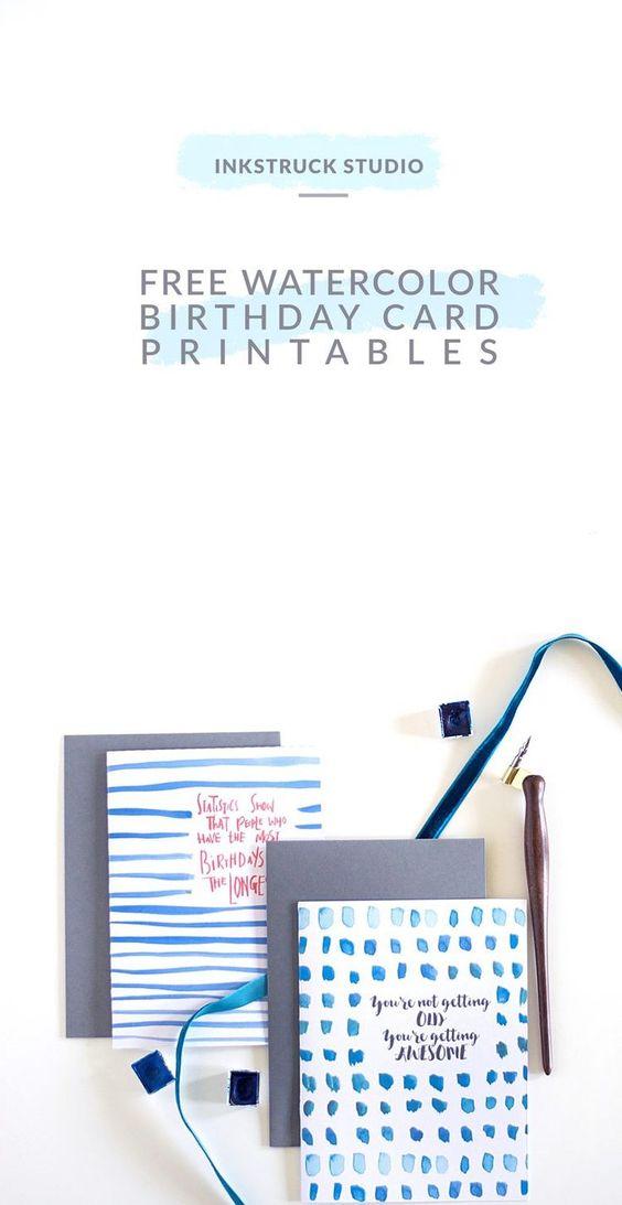 Free watercolor birthday card printables - Inkstruck Studio