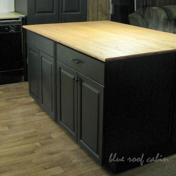 Kitchen Diy Cupboards: DIY Large Kitchen Island Out Of Two Old Side Of The Road