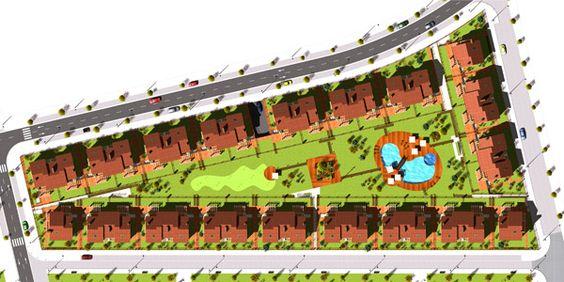 Infografía 3D del Proyecto de Urbanización.  El proyecto incluye piscina, pequeño campo de Golf, pista de padel.  Toda una serie de servicios que junto con la calidad y la ubicación hacen de este un lugar ideal para vivir.