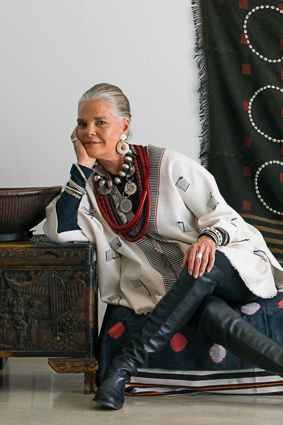 ibu Movement | Ali MacGraw wearing Naga Tunic with Vintage Necklaces from Africa and India