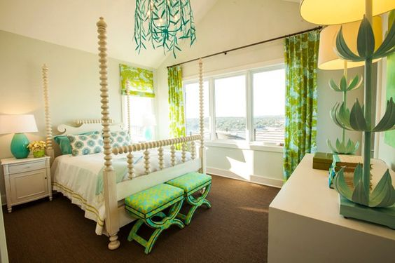 turquoise and lime bedroom