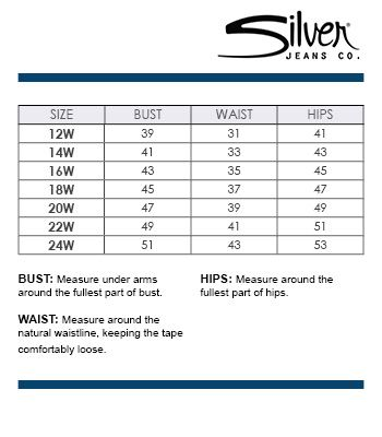 Silver Jeans Co. Plus Size Chart via Dillards | Brand Name Plus