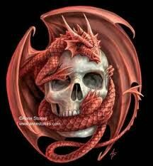Red dragon skull