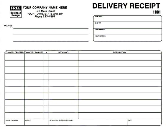 Delivery Receipt Template in Excel Format Excel Project - pay in slip format in excel