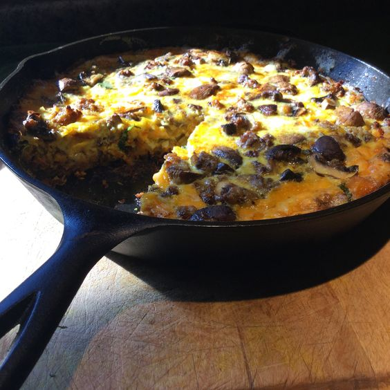 Perfect...Kitchen Pride mushrooms, farm eggs, smoked cheese, more cheese... Perfect!