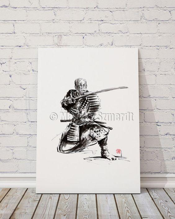 Samurai art print samurai sword japan poster japan by SamuraiArt