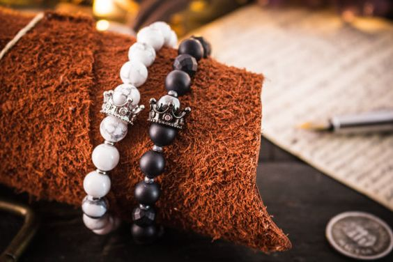 8mm - The King Collection - Set of 2 - Matte black onyx & lava stone and…