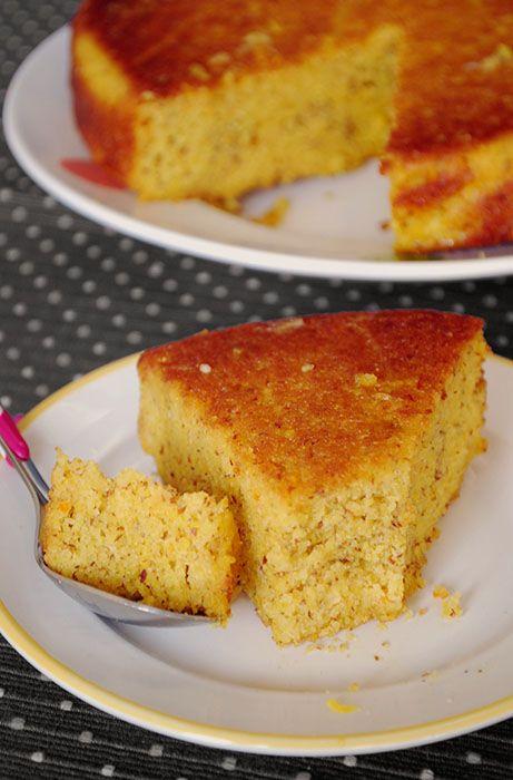 gateau-orange-polenta  juste 50 gr sucre , amandes pas trop moulues et sirop sans sucre BON