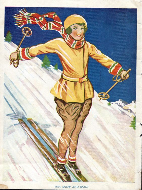 vintage Schoolgirl illustration downhill by VintageAndNostalgia