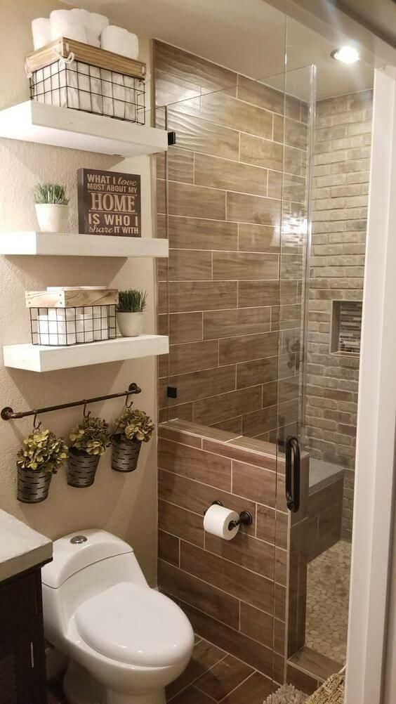 3 Wall Tile And Bricked Wall Combo Small Bathroom Remodel Small Bathroom Bathroom Interior