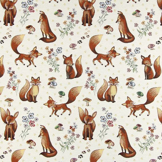 Gobelina Lovely Fox - Poliéster - Algodão - branco sujo