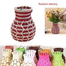 Belle Wicker and Wire maison rustique vase pot de fleur de rotin de stockage millésime panier coloré Décoration décoration(China (Mainland))