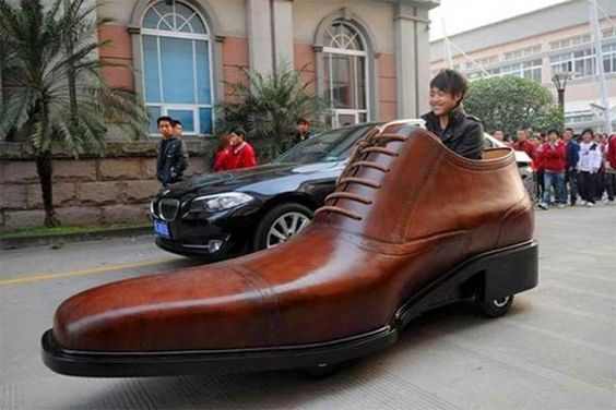 Giant electric shoe-shaped car created by Chinese footwear company as a promo for their shoes. It measures 10 feet long and more than 3 feet high.