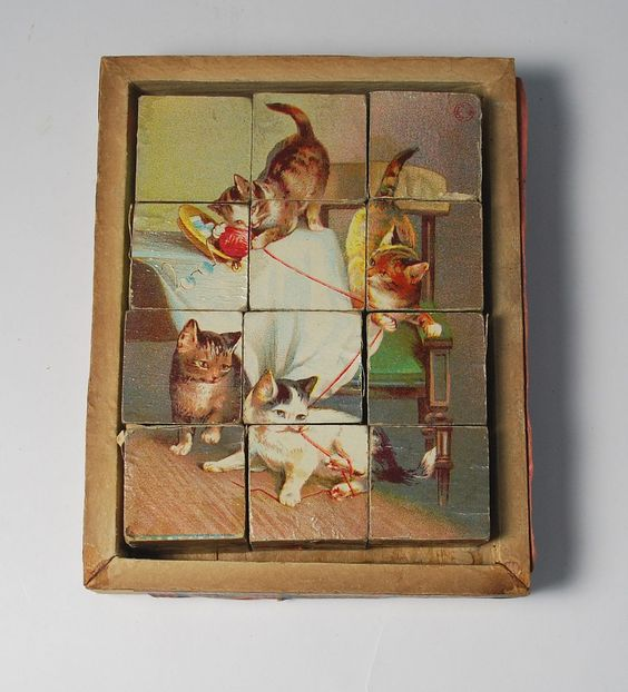 Antique Litho Cube Puzzle