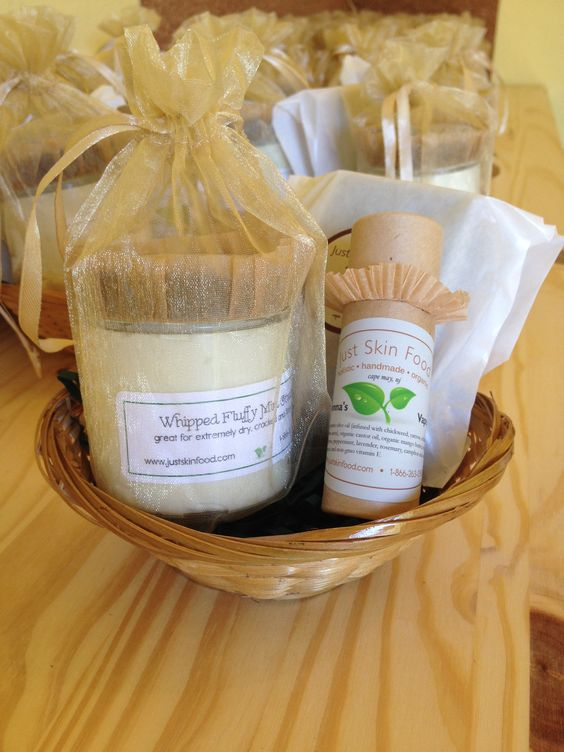 Whipped fluffy body creams, organic herbal soaps, lotion pop-up bars gift basket