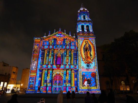 a dazzling projected light show set to music on a beautiful church, Einladung