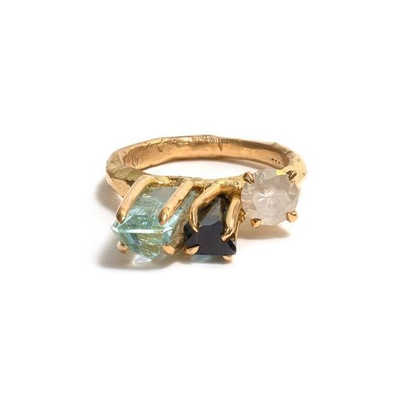 Top view of Barbarella ring: aquamarine, Australian parti sapphire & milky diamond set into 18ct yellow gold. Inspired by the character played by Jane Fonda in the film Barbarella. I decided to keep this one :) #barbarella #tessablazey #aquamarine #australiansapphire #partisapphire #milkydiamond