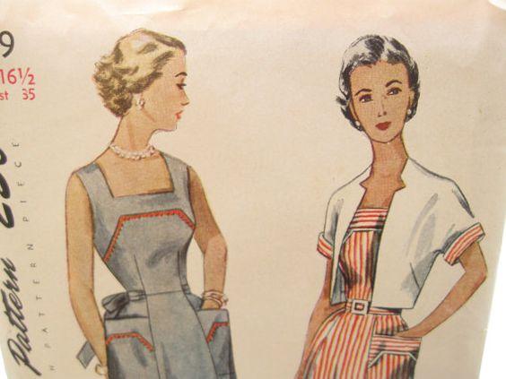 Simplicity 3219 1950s Bolero and Dress Pattern Bust 35 Factory Folds Half Size.