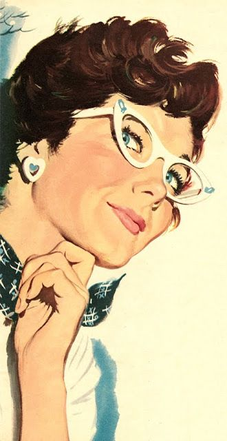 Cat Eyes vintage eyeglasses illustration: