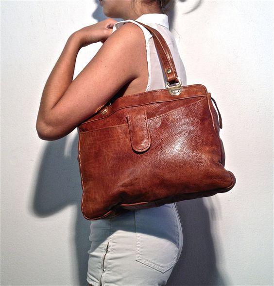 big vintage brown leather bag festival summer by ilvecchioarmadio, €63.00