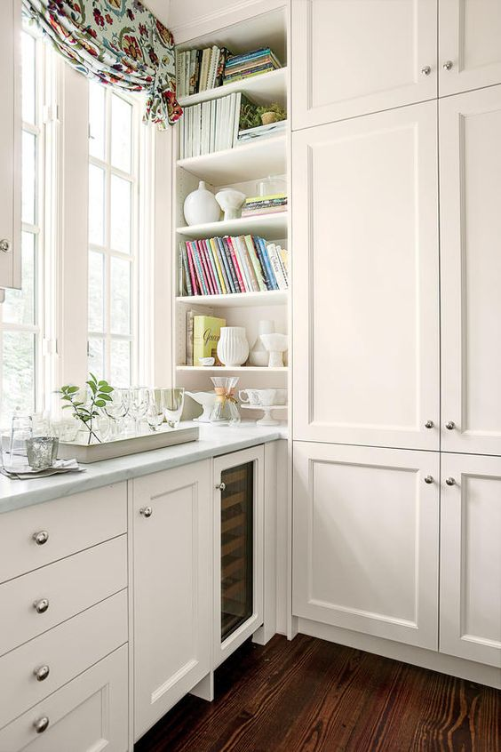 The details floor to ceiling storage lighten up kitchen - Make cabinet scratch extra storage space ...