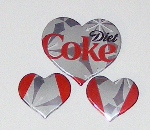 3 Heart Magnets  Diet Coke Soda Can by SodaCanBuddies on Etsy, $2.25