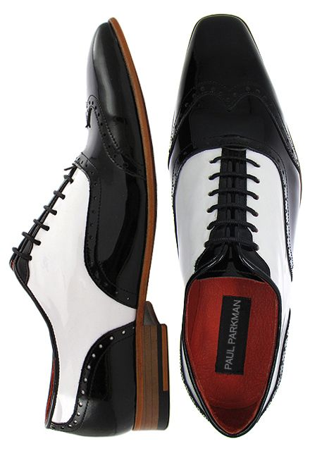 Paul Parkman Men&39s Dress Shoes Black and White Two Tone Wingtip ...