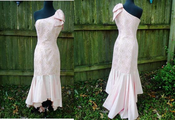 One Shoulder Mermaid 80s Prom Dress in Gold and by gottagovintage1, $89.00