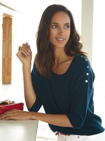 100% Cashmere Scoop Neck Buttons Sweater-Cashmere 1873.COM