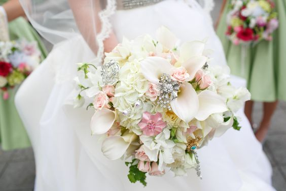 Beautiful bouquet with broaches from women who have made an impact on my life!