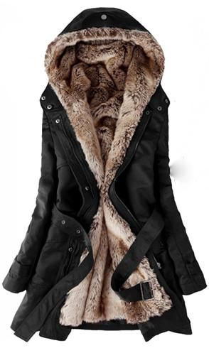 I have this in an off white color. So warm and you can unzip and remove the fur for warmer days. 'Another pinner'