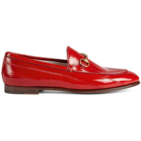 Gucci Gucci Jordaan Eel Loafer ($705) ❤ liked on Polyvore featuring shoes, loafers, moccasins & loafers, red, women, leather sole moccasins, gucci flats, red loafers, red flat shoes and flat pumps