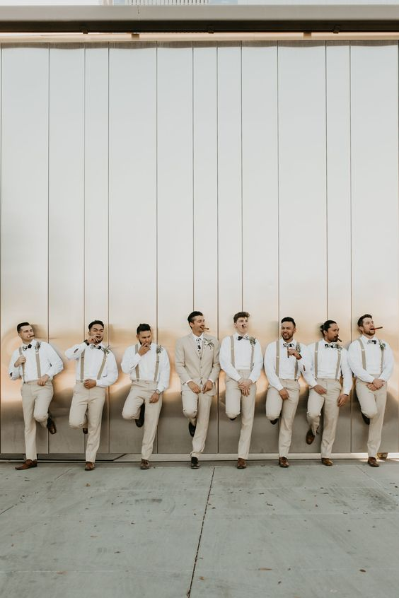 bridesmaids mint green groomsmen suspenders Arizona sunset wedding party photography dark + moody candid honest southwest