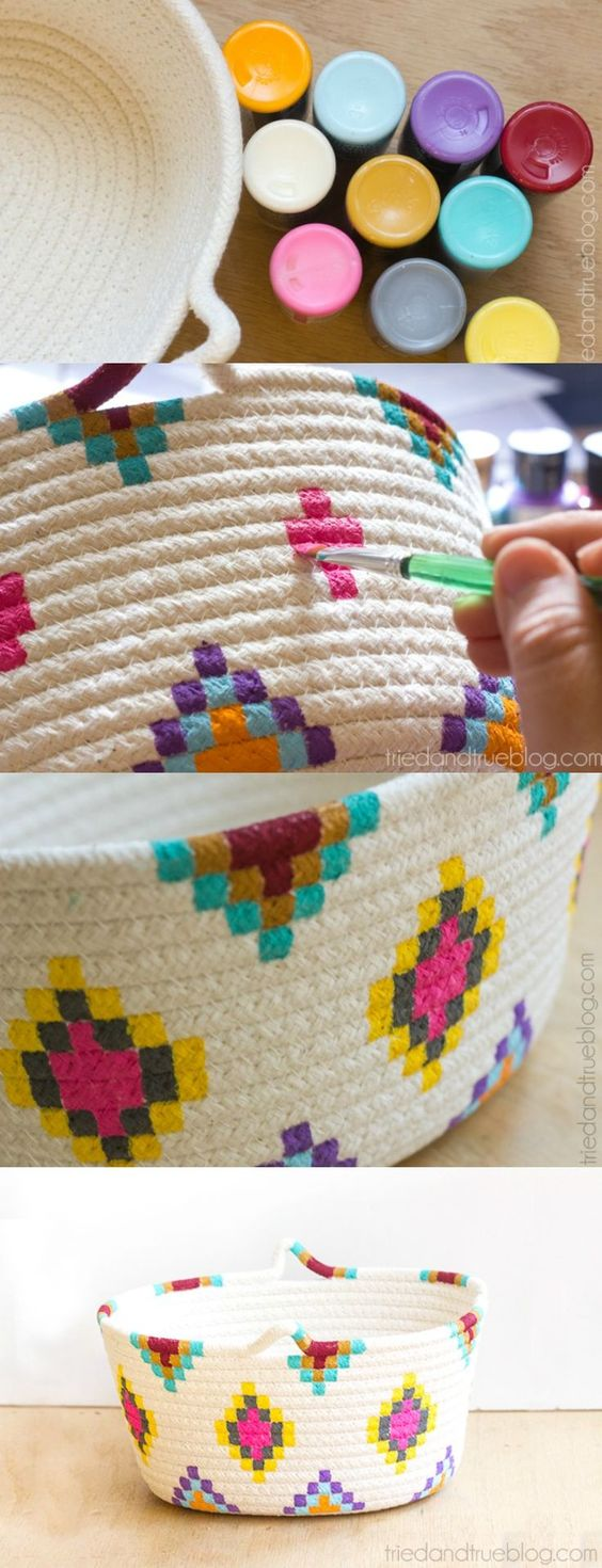 This Kilim-Inspired painted basket tutorial is an easy way to try out a fun new color palette quickly and inexpensively. It's so simple to make!: