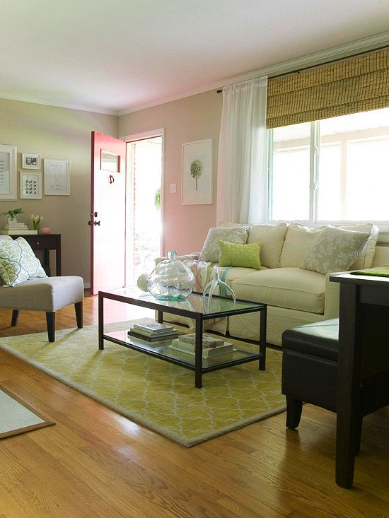 Hanging The Drapes High And Wide Around Our Big Picture Window Framed The View Witho Living Room Furniture Layout Curtains Living Room Small Living Room Layout