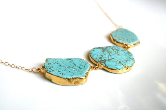Turquoise Slab Necklace Statement Piece Dipped in 24k by talastone, $65.00