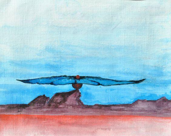 Blue Sky soft shaped Flower original Canvas floral Art by AmajArt, $50.00