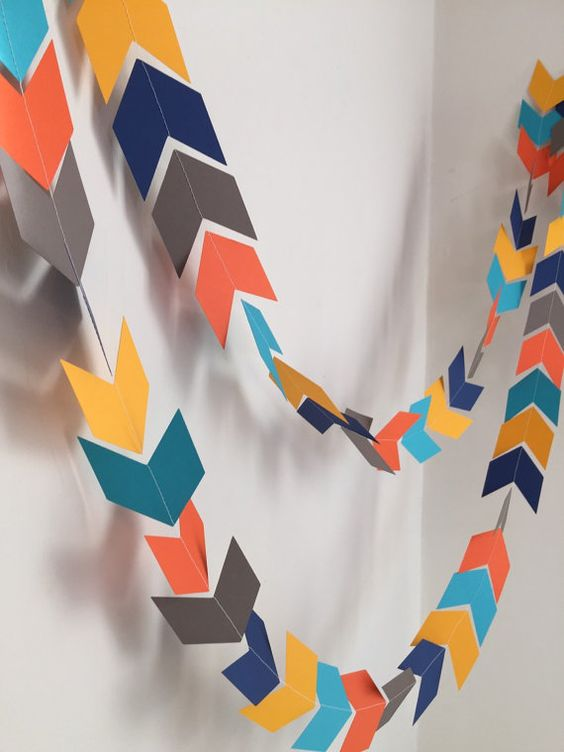 Arrow Head garland - Chevron banner -Woodland Party decor- Camping birthday garland - Baby Shower decor- your color choices
