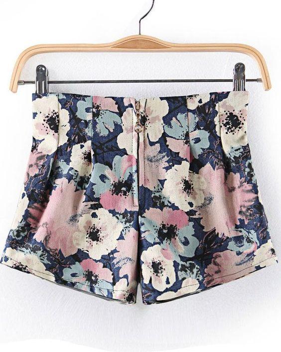Blue Zipper Floral Straight Shorts