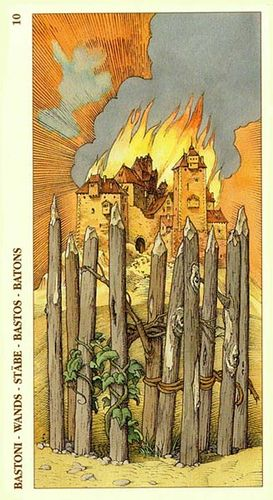 Tarot of Dürer - Ten of Wands