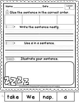kindergarten sentence puzzles compatible with journeys kindergarten math literacy and math. Black Bedroom Furniture Sets. Home Design Ideas