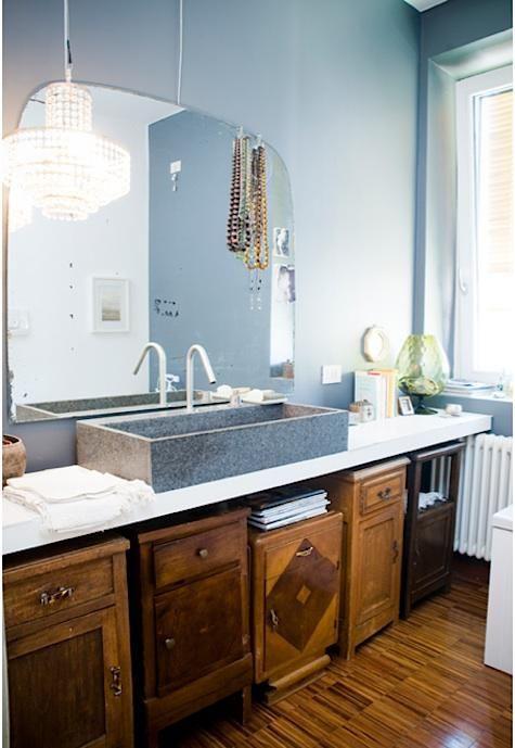 reused bedside cabinets reworked for a bathroom
