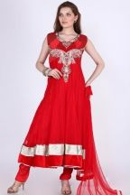 Designer Embroidered Party Anarkali Kameez; Rose-madder Red Net Embroidered Party and Festival Anarkali Kameez