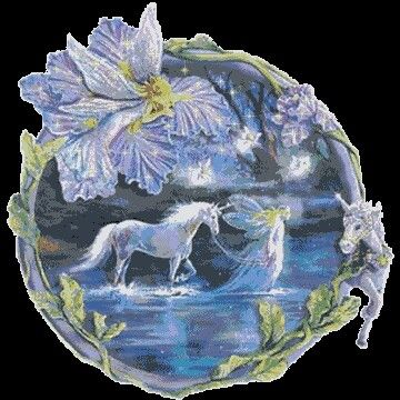 Fairies guiding a unicorn