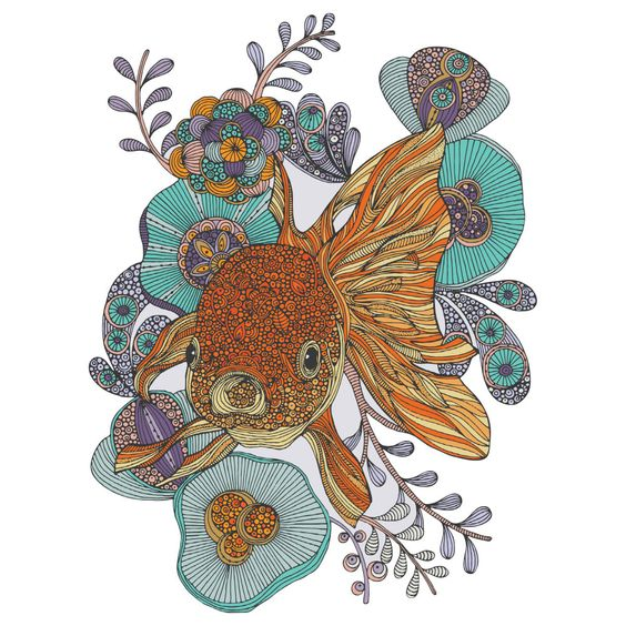 """Flowery and fabulous! Little Fish wall sticker decal by artist Valentina Harper brings to life her intricately penned illustration of a gorgeous goldfish swimming among floral underwater foliage. This ornate fish wall decal is available in 4 sizes: S-8.25""""w x 11""""h; M-11""""w x 15""""h; L-29.5""""w x 39.5""""h; XL-39.5""""w x 53""""h. Try it on walls, mirrors, doors, windows – easy installation guaranteed! Our wall decals will easily peel and stick to any flat surface, as they are made with SafeCling, a…"""