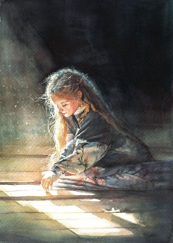 Original custom watercolor portrait girl, boy, child. Painting from photo is a personal gift for mot