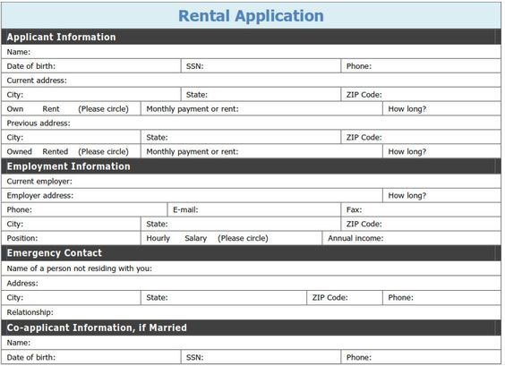 Free Vermont Rental Application PDF Word (doc) Front Five - rental application form